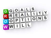Las metas personales crecen siglas Foto de archivo