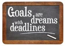 Las metas son sueños con plazos Imagen de archivo libre de regalías