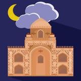 Las mezquitas siluetean en fondo púrpura de la noche Foto de archivo libre de regalías