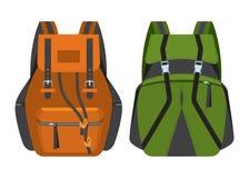 Las mochilas para el turismo y las alzas ejecutados en estilo plano Fotos de archivo