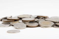 Las monedas aislaron Imágenes de archivo libres de regalías