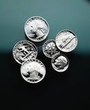 Las monedas americanas se cierran para arriba Imagen de archivo libre de regalías