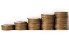 Las monedas conmemorativas de la Federación Rusa diez-representaron crecimiento gráficamente Foto de archivo libre de regalías