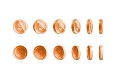 Las monedas de bronce fijaron aislado en blanco en diversas posiciones Imagen de archivo