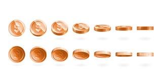Las monedas de bronce fijaron aislado en blanco en diversas posiciones Fotografía de archivo
