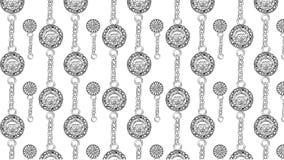 Las monedas de los piratas con la cadena en el alto blanco del fondo detallaron ilustración del vector