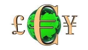 Las monedas de oro del mundo animado 3d giran alrededor de la tierra verde Fondo blanco 4K Lazo inconsútil stock de ilustración