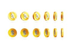 Las monedas de oro fijaron aislado en blanco en diversas posiciones Fotos de archivo