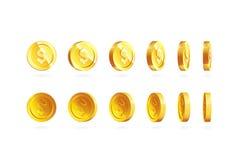 Las monedas de oro fijaron aislado en blanco en diversas posiciones Fotos de archivo libres de regalías