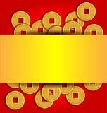 Las monedas de oro resumen el fondo por Año Nuevo chino Imágenes de archivo libres de regalías