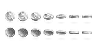 Las monedas de plata fijaron aislado en blanco en diversas posiciones Imagen de archivo