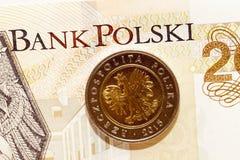 Las monedas polacas se cierran para arriba Foto de archivo