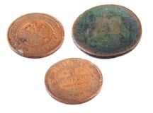 Las monedas rusas viejas Foto de archivo libre de regalías