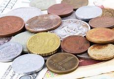 Las monedas se cierran para arriba Fotografía de archivo libre de regalías