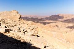 Las montañas del cráter empiedran sceni de la naturaleza de Oriente Medio del paisaje del desierto Fotografía de archivo libre de regalías