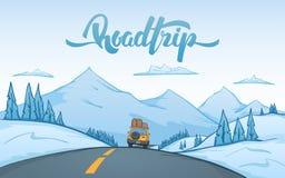 Las montañas del invierno de la historieta ajardinan con paseos del coche del viaje en el camino y las letras manuscritas del via libre illustration