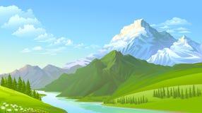 Las montañas heladas, las colinas verdes y el río que fluye frío libre illustration