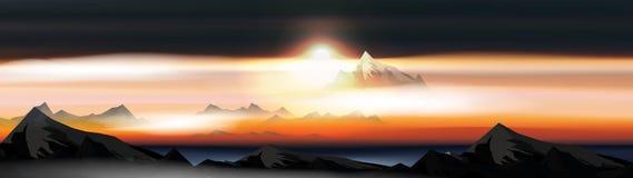 Las montañas sobre las nubes ajardinan en la puesta del sol o Dawn Panorama - ejemplo del vector stock de ilustración