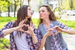 Las muchachas adolescentes disfrutan de amistad Adolescentes felices jovenes que se divierten en parque del verano Fotografía de archivo