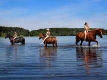 Las muchachas bañan el caballo en el lago Imagen de archivo libre de regalías