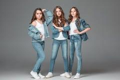 Las muchachas de la moda que se unen y que miran la cámara sobre fondo gris del estudio Imagen de archivo libre de regalías