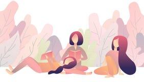 Las muchachas de los amigos están descansando en parque con los libros Lectura junto pendiente plana del ejemplo del dibujo Imagenes de archivo