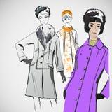 Las muchachas del bosquejo del vector en la moda visten el EPS Fotografía de archivo libre de regalías