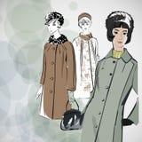 Las muchachas del bosquejo del vector en la moda visten el EPS Imagen de archivo libre de regalías