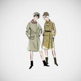 Las muchachas del bosquejo del vector en la moda visten el EPS Imágenes de archivo libres de regalías