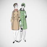 Las muchachas del bosquejo del vector en la moda visten el EPS Fotos de archivo