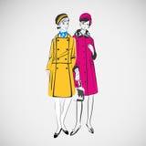 Las muchachas del bosquejo del vector en la moda visten el EPS Fotos de archivo libres de regalías