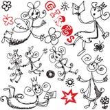 Las muchachas divertidas doodles, los elementos drenados mano del diseño Imágenes de archivo libres de regalías