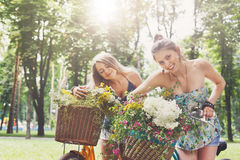 Las muchachas elegantes del boho feliz montan juntas en las bicicletas en parque Imágenes de archivo libres de regalías