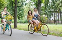Las muchachas elegantes del boho feliz montan juntas en las bicicletas en parque Foto de archivo libre de regalías