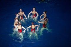 Las muchachas en un círculo en piscina en los campeones olímpicos de la demostración Fotografía de archivo