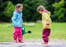 Las muchachas gemelas son que cultivan un huerto y de riegos de margaritas en patio trasero Imagen de archivo