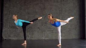 Las muchachas hermosas en ropa de deportes están sonriendo mientras que hacen yoga en pasillo de deportes Mujeres que practican y almacen de video