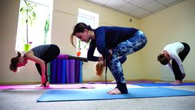 Las muchachas hermosas estiran detrás los músculos en posiciones de la yoga almacen de video