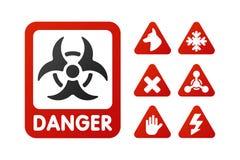 Las muestras de la prohibición fijaron la información de seguridad prohibida símbolo amonestador rojo del peligro del amarillo de stock de ilustración