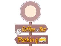 Las muestras de las muestras al aire libre, del café y del té, parqueando firman Imagenes de archivo