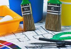 Las muestras de materiales colorean la tapicería y cubren el architectur Imagen de archivo
