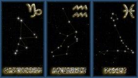 Las muestras del invierno del zodiaco Stock de ilustración