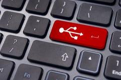 Las muestras del USB encendido incorporan el clave del teclado, USB listo Foto de archivo