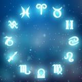 Las muestras del zodiaco en un fondo azul Imagen de archivo