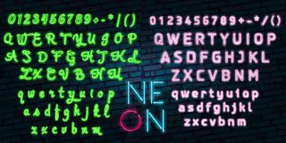 Las muestras detalladas realistas de las luces de neón 3d fijadas en una fuente azul del alfabeto del fondo diseñan el elemento Imágenes de archivo libres de regalías