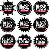 Las muestras grandes negras de la venta de viernes fijaron, sistema negro de la etiqueta engomada de viernes, vector Fotos de archivo libres de regalías