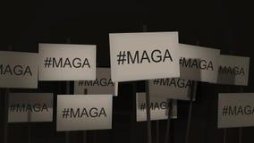 Las muestras que agitan de las series de la protesta o de la conciencia - #MAGA - hacen América grande otra vez libre illustration