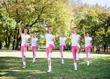 Las mujeres agrupan en clase de aeróbicos. Imágenes de archivo libres de regalías