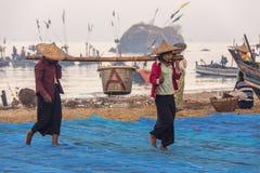 Pueblo pesquero - playa de Ngapali - Myanmar fotografía de archivo