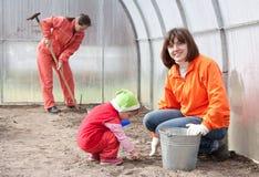 Las mujeres con el niño trabajan en el invernáculo Fotografía de archivo
